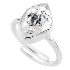 5.43cts natural white herkimer diamond 925 silver adjustable ring size 6 t49022