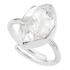 5.63cts natural white herkimer diamond 925 silver adjustable ring size 6 t49026