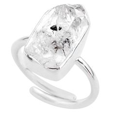8.22cts natural white herkimer diamond 925 silver adjustable ring size 8 t49010