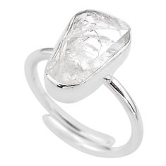 6.82cts natural white herkimer diamond 925 silver adjustable ring size 8 t49015