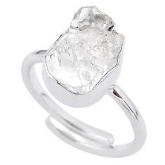 6.10cts natural white herkimer diamond 925 silver adjustable ring size 8 t49018