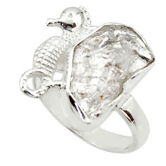 7.66cts natural white herkimer diamond 925 silver solitaire ring size 7.5 r30002