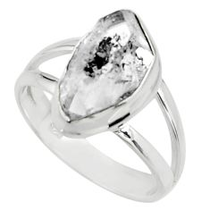 5.06cts natural white herkimer diamond 925 silver solitaire ring size 7 r26607