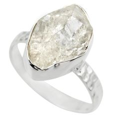 6.22cts natural white herkimer diamond 925 silver solitaire ring size 7 r29687