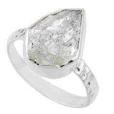 5.55cts natural white herkimer diamond 925 silver solitaire ring size 8 r29691