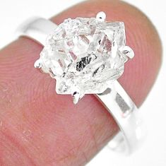 5.22cts natural white herkimer diamond 925 silver solitaire ring size 8 r91003
