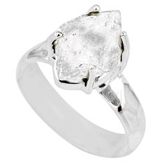 7.33cts natural white herkimer diamond 925 silver solitaire ring size 9 r63135