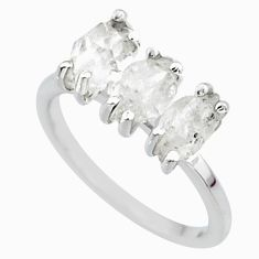 6.64cts natural white herkimer diamond 925 sterling silver ring size 7 r65826