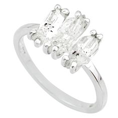 6.64cts natural white herkimer diamond 925 sterling silver ring size 8 r65822