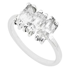 5.74cts natural white herkimer diamond 925 sterling silver ring size 8 t10570