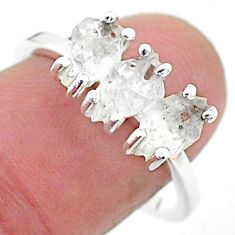 5.54cts natural white herkimer diamond 925 sterling silver ring size 8 t6476