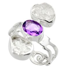 12.52cts natural white herkimer diamond amethyst 925 silver ring size 7.5 r29635