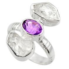 12.52cts natural white herkimer diamond amethyst 925 silver ring size 7 r29638