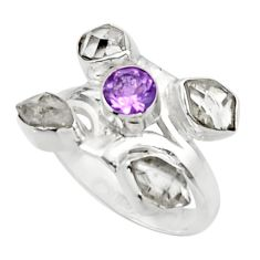 6.48cts natural white herkimer diamond amethyst 925 silver ring size 7 r44705