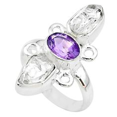 10.57cts natural white herkimer diamond amethyst 925 silver ring size 8 t10294