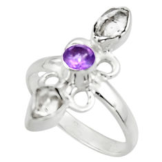 4.69cts natural white herkimer diamond amethyst 925 silver ring size 9 r44684