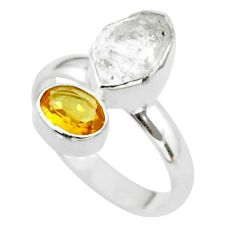 8.73cts natural white herkimer diamond citrine 925 silver ring size 8 t49663