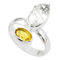 9.18cts natural white herkimer diamond citrine 925 silver ring size 6.5 t49672