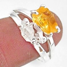 6.61cts natural white herkimer diamond citrine raw silver ring size 8 t6784