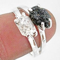 7.29cts natural white herkimer diamond diamond raw silver ring size 7 t6791