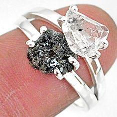 7.21cts natural white herkimer diamond diamond raw silver ring size 8 t6766