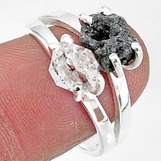 7.22cts natural white herkimer diamond diamond raw silver ring size 8 t6792
