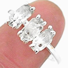 5.44cts natural white herkimer diamond fancy shape 925 silver ring size 9 t6465