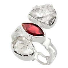 12.06cts natural white herkimer diamond garnet 925 silver ring size 6.5 r29630