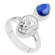 8.31cts natural white herkimer diamond kyanite 925 silver ring size 7 t48930