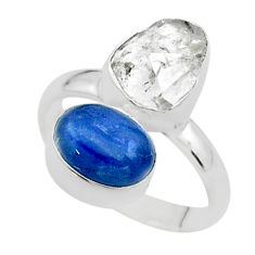 10.02cts natural white herkimer diamond kyanite 925 silver ring size 7 t49694