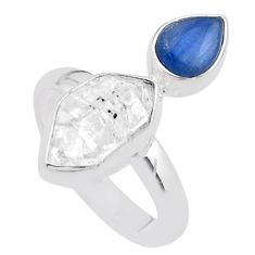 8.80cts natural white herkimer diamond kyanite 925 silver ring size 8 t48971