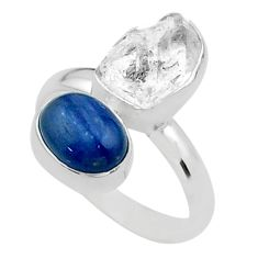 10.78cts natural white herkimer diamond kyanite 925 silver ring size 9 t49696