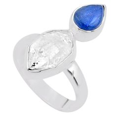 8.77cts natural white herkimer diamond kyanite 925 silver ring size 6.5 t48968