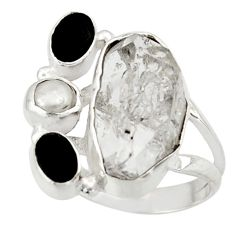 13.87cts natural white herkimer diamond onyx 925 silver ring size 6.5 d47466