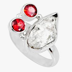 9.04cts natural white herkimer diamond red garnet 925 silver ring size 9 r61695