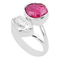 11.11cts natural white herkimer diamond ruby raw 925 silver ring size 7 t49719