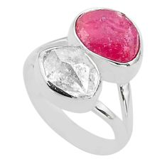11.23cts natural white herkimer diamond ruby raw 925 silver ring size 7 t49733