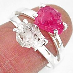 7.57cts natural white herkimer diamond ruby raw 925 silver ring size 7 t6772