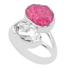 11.97cts natural white herkimer diamond ruby raw 925 silver ring size 8 t49718