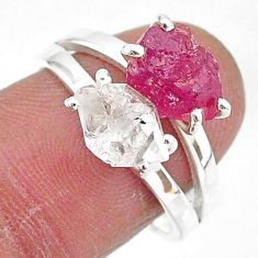 7.21cts natural white herkimer diamond ruby raw 925 silver ring size 8 t6776