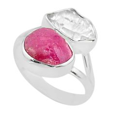 11.23cts natural white herkimer diamond ruby raw 925 silver ring size 9 t49745