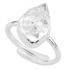 6.10cts natural white herkimer diamond silver adjustable ring size 8 t49002