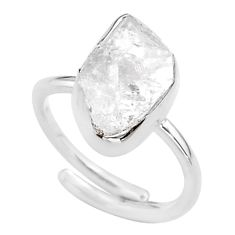 5.84cts natural white herkimer diamond silver adjustable ring size 6.5 t49006