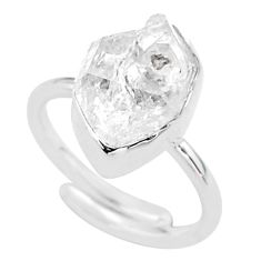 6.27cts natural white herkimer diamond silver adjustable ring size 6.5 t49013
