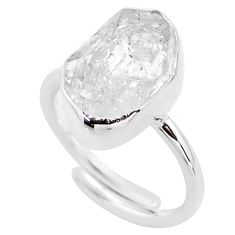 5.64cts natural white herkimer diamond silver adjustable ring size 6.5 t49024