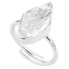 7.53cts natural white herkimer diamond silver adjustable ring size 8.5 t49028
