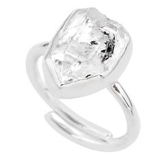 5.23cts natural white herkimer diamond silver adjustable ring size 6.5 t49031