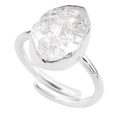 5.23cts natural white herkimer diamond silver adjustable ring size 6.5 t49036