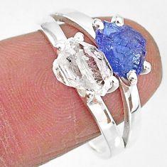 6.83cts natural white herkimer diamond tanzanite raw silver ring size 8 t6788