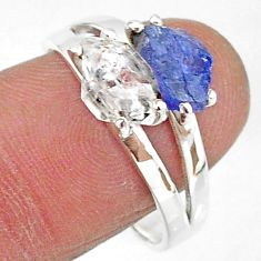 6.50cts natural white herkimer diamond tanzanite raw silver ring size 9 t6799